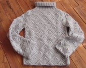 handmade sweater with diamond lace pattern and bobbles in light grey/sweaters for women/winter sweater/ski sweater