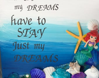 My Little Mermaid Inspirational Mixed Media Art Canvas