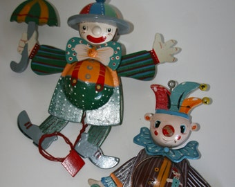 Vintage 1940's - 1950's  Jumping Jack Wooden Toys, Set of Two Clowns, Very Detailed, Great Working Condition
