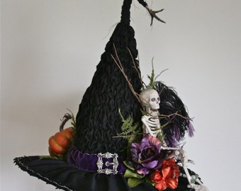 Handmade Victorian Witch Hat by Studio Sisu, Skeleton, Real Grouse Feet, 1910's Belt Buckle, Renaissance Festival Witches Ball, Halloween
