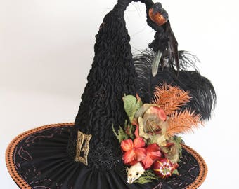Elegant Satin Silk Heirloom Victorian Witch Hat, Hand Sculpted Witch Hat, Victorian Mourning Trim, Real Mink Skull, Salem Witches Ball