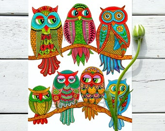 Owls of Happiness - Art Print