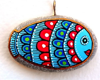 I Sassi dell'Adriatico - Hand Painted Stone (Adriatic Sea) Fish Pendant