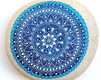 """Unique Mandala - Stone From the Book: """"A Year of Stone Painting"""" by Sehnaz Bac"""