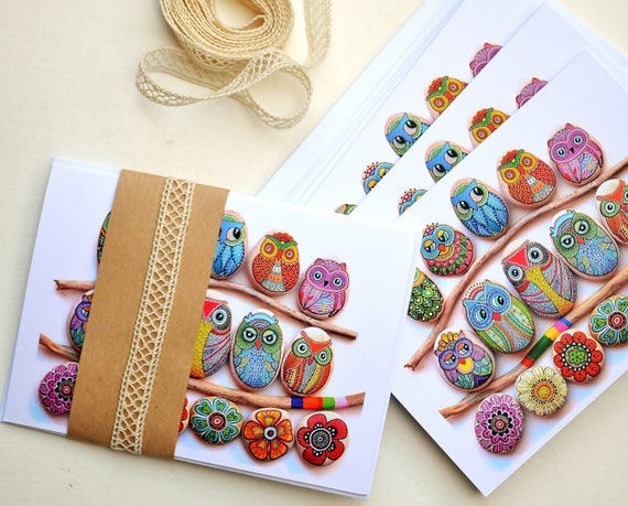 Greeting Card No.6 - (Painted Stone Owls and Flowers) - I Sassi dell'Adriatico by Sehnaz BAC
