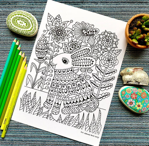 Easter Bunny Instant Download Coloring page