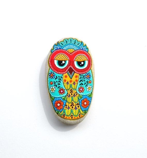 Owl No.19 - Hand Painted Stone - I Sassi dell'Adriatico (Adriatic Sea Stone)