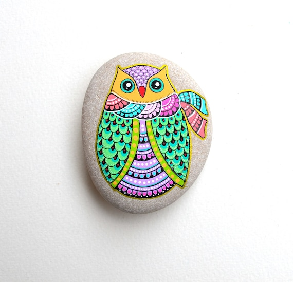 Winter Owl - Hand Painted Stone - I Sassi dell'Adriatico (Adriatic Sea Stone)