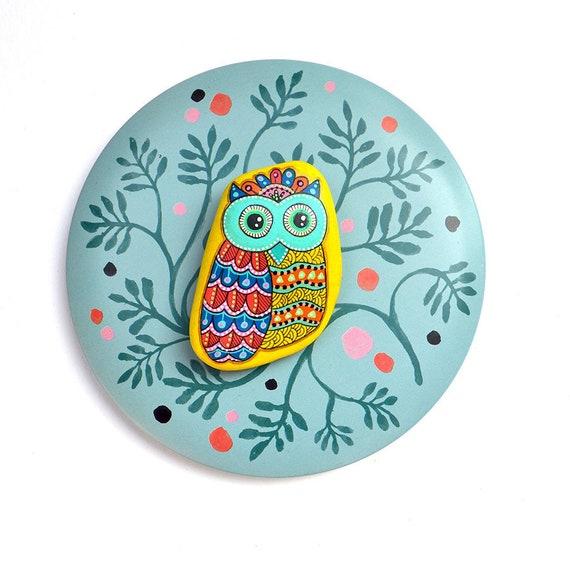 Owl No.11 - Hand Painted Stone - I Sassi dell'Adriatico (Adriatic Sea Stone)