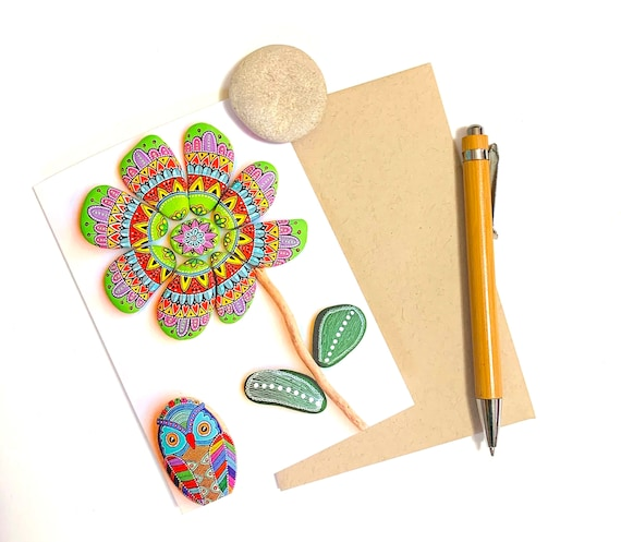 Greeting Card No.9 - (Painted Stone Owl and Mandala Flower) - I Sassi dell'Adriatico by Sehnaz BAC
