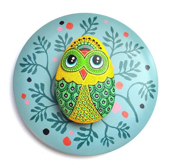 Owl No.9 - Hand Painted Stone - I Sassi dell'Adriatico (Adriatic Sea Stone)