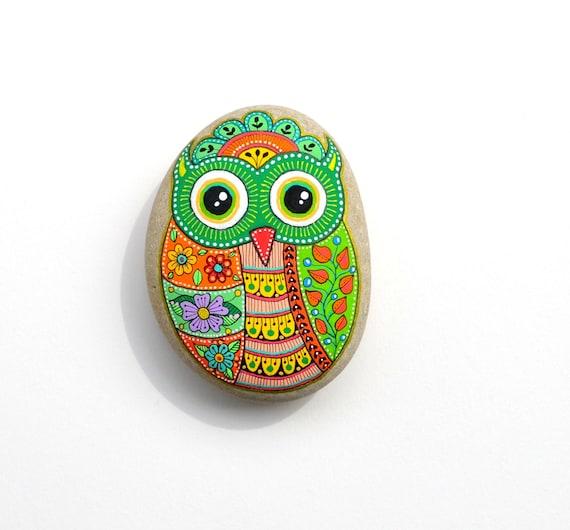 Owl No.20 - Hand Painted Stone - I Sassi dell'Adriatico (Adriatic Sea Stone)