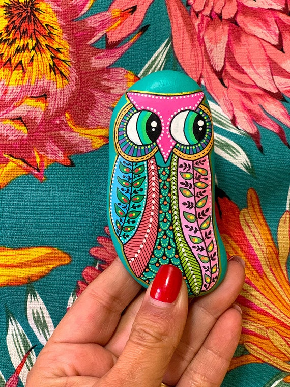 Owl No.1 - Hand Painted Stone - I Sassi dell'Adriatico (Adriatic Sea Stone)