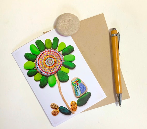 Greeting Card No.8 - (Painted Stone Owl and Mandala Flower) - I Sassi dell'Adriatico by Sehnaz BAC