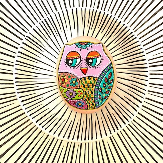 Owl No.3 - Hand Painted Stone - I Sassi dell'Adriatico (Adriatic Sea Stone)