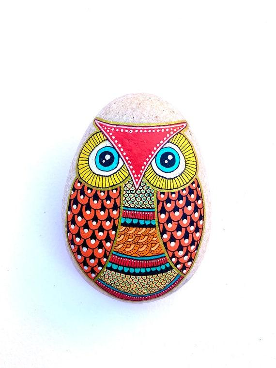 Owl No.17 - Hand Painted Stone - I Sassi dell'Adriatico (Adriatic Sea Stone)