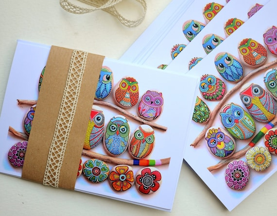 Greeting Card - Painted stone Owls & Flowers -