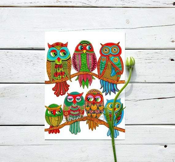 Owls of Happiness - Art Print
