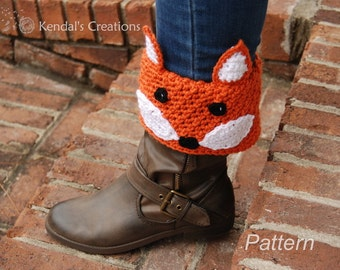 Fox Boot Cuff Crochet PATTERN No. 302_Not the Actual Item, Fox (2 Styles) Wear Up or Fold Down Boot Cuffs: 5 Sizes- Toddler to Adult Large