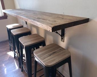 Wall hanging dining table, buffet,School desk, breakfast nook with industrial metal turnbuckle brackets