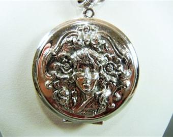 Whiting and Davis locket, Whiting and Davis, Whiting & Davis necklace, Whiting and Davis silver locket, art nouveau locket, baroque locket,