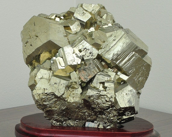 Beautiful Cubic Pyrite Crystal on Wooden Stand