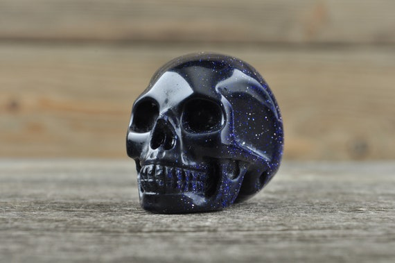 Realistic Blue Sandstone Crystal Skull, Mini WOUNDED WARRIOR