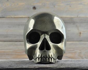 Iron Pyrite, Crystal Skull, Large, Halloween Decor, Skull Decor, Gothic Home Decor, Memento Mori, Goth Decor, Crystal Decor