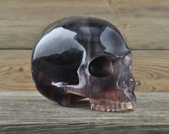 Fluorite, Crystal Skull, Large, Halloween Decor, Skull Decor, Gothic Home Decor, Memento Mori, Goth Decor, Crystal Decor