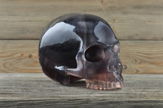 Natural Super Realistic Jawless Fluorite Crystal Skull, Large