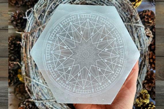 Etched Selenite Gridding Plate! Large
