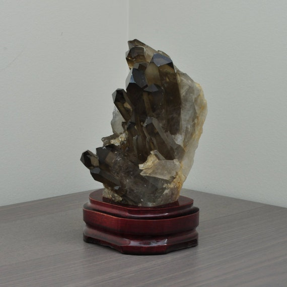 Beautiful Smokey Quartz Cluster on Wooden Stand
