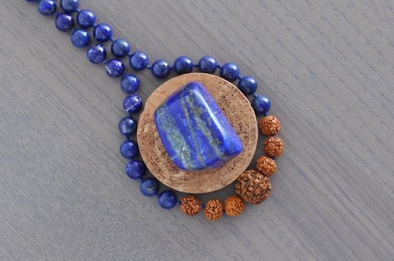 Lapis Lazuli + 5 Muhki Rudraksha Necklace