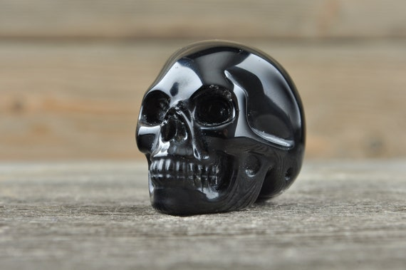 Natural Realistic Black Obsidian Crystal Skull, Mini! WOUNDED WARRIOR