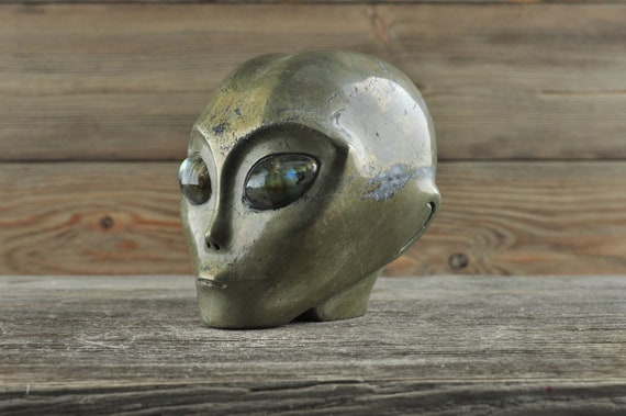 Natural Pyrite with Labradorite Eyes Alien Starbeing Crystal Skull, 3 inches!