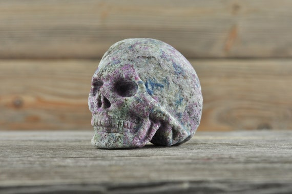 Natural Ruby and Kyanite In Zoisite Crystal Skull, Mini