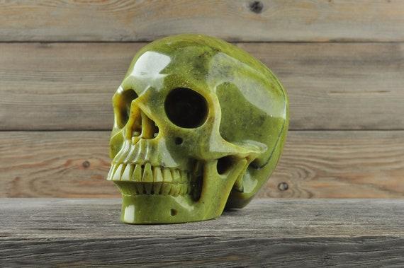 Natural Nephrite Jade Crystal Skull, Large