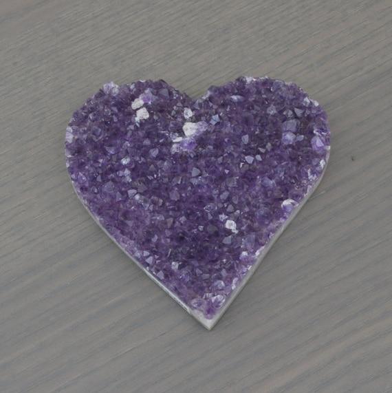 Beautiful Quality Semi-Polished Uruguayan Amethyst Heart HRT3-004