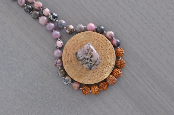 Rhodonite + 6 Muhki Rudraksha Necklace