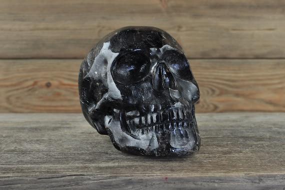 Natural Realistic Arfvedsonite Crystal Skull, Large