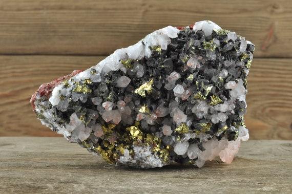 Hematite Quartz Pyrite Cluster, Quartz Crystal, Quartz Cluster, Fire Quartz, Crystal Decor, Home Decor