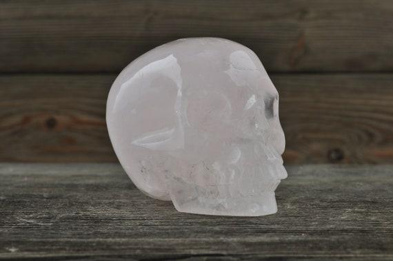 Natural Realistic Rose Quartz Crystal Skull, Medium