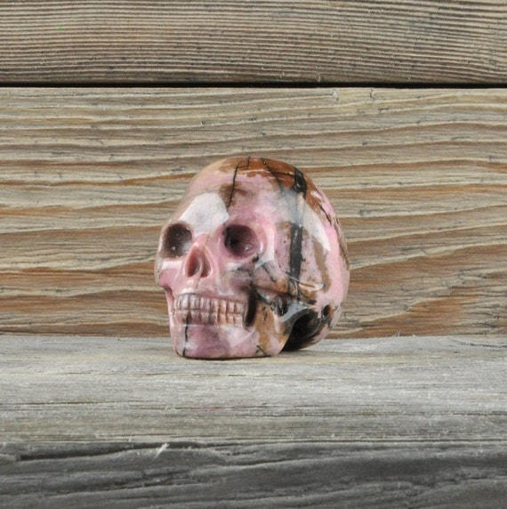 Natural Realistic Rhodonite Crystal Skull, Mini!