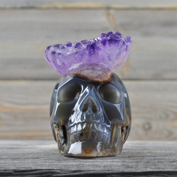 Stunning Natural Amethyst and Banded Agate Geode Crystal Skull!