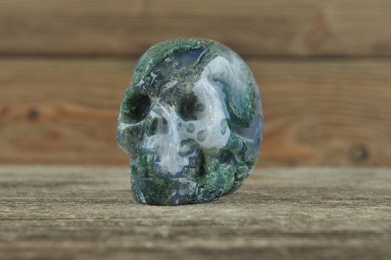 Natural Moss Agate Crystal Skull, 2 inch