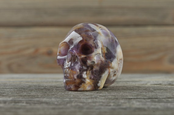 Natural Realistic Chevron Amethyst Crystal Skull, Mini!