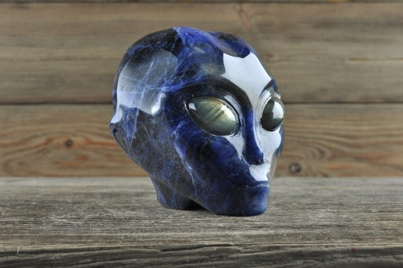 Natural Sodalite with Labradorite Alien Starbeing Crystal Skull, 3 inches!