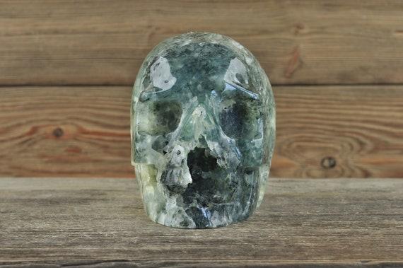 Prehnite & Black Tourmaline Crystal Skull, Halloween Decor, Skull Decor, Gothic Home Decor, Memento Mori, Goth Decor, Crystal Decor