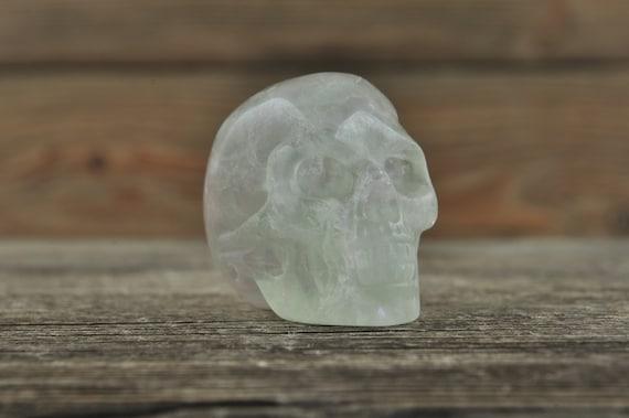 Green Fluorite Crystal Skull, Mini! Halloween Decor, Skull Decor, Gothic Home Decor, Memento Mori, Goth Decor, Crystal Decor