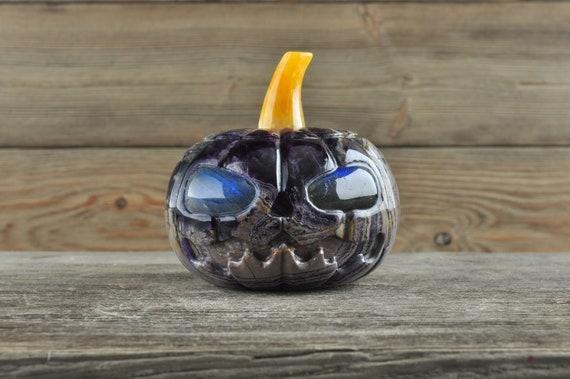 Awesome Purple Fluorite Pumpkin with Labradorite Eyes!